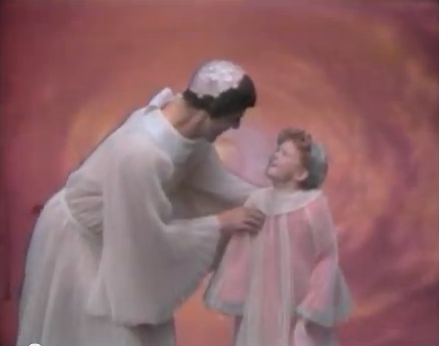 Herman Munster welcomes Jody to Heaven just before they board the chariot bathtub to the shop of halos.